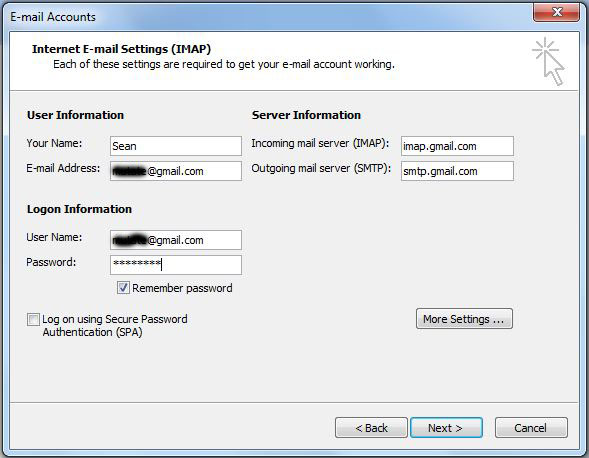 Configure Microsoft Outlook 2003/2007 for Gmail IMAP and